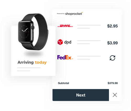 Real time shipping for online stores